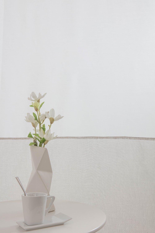 RideauDiscount Voilage Vitrage 90 x 210 cm Passe Tringle Tissu en Deux Coloris Blanc//Ecru