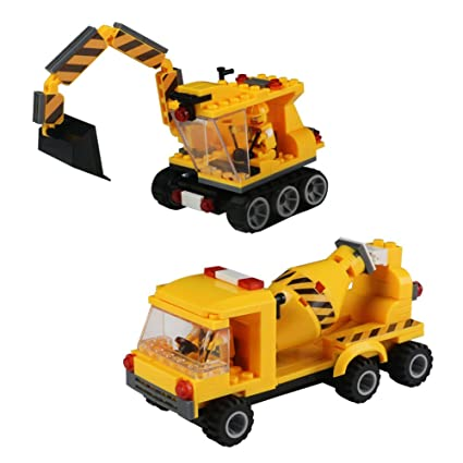 Amazon Com Construction Vehicles Set Car Building Blocks Plastic