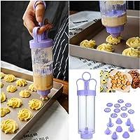 Evangelia.YM Cookie Presses Biscuit Pump Gun Making Machine - 8 Mounted Floral Mouth + 10 Decorative Flowers Discs Kitchen Dining Mold Bakeware Tools Set (Purple)