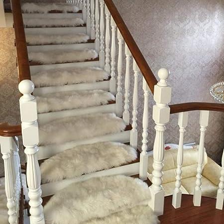 XOCKYE Pasos de Escalera Tapetes Alfombras Antideslizantes Alfombrillas de Paso Alfombra para Escalera,Alfombra Shaggy@Azul Gris_Los 65x24cm: Amazon.es: Hogar