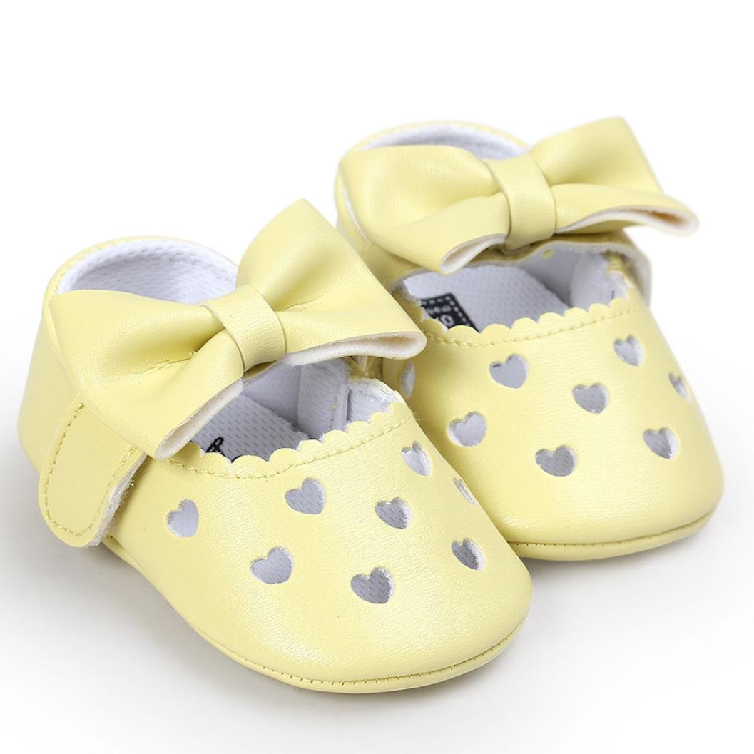 Ecurson Baby Girl Hollow Out Bowknot Casual Sneaker Anti-Slip Soft Shoes