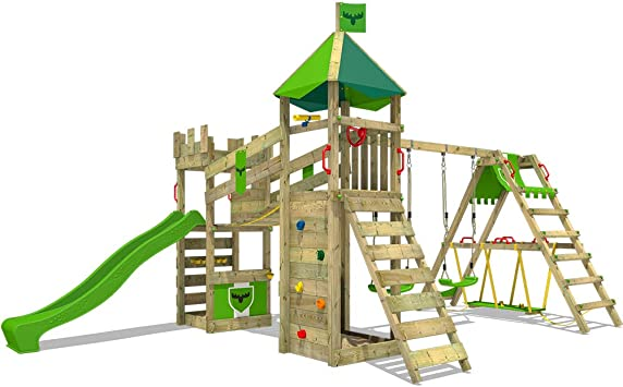 FATMOOSE Parque infantil de madera RiverRun con columpio SurfSwing y tobogán verde manzana, Casa de juegos de jardín con arenero y escalera para niños: Amazon.es: Bricolaje y herramientas