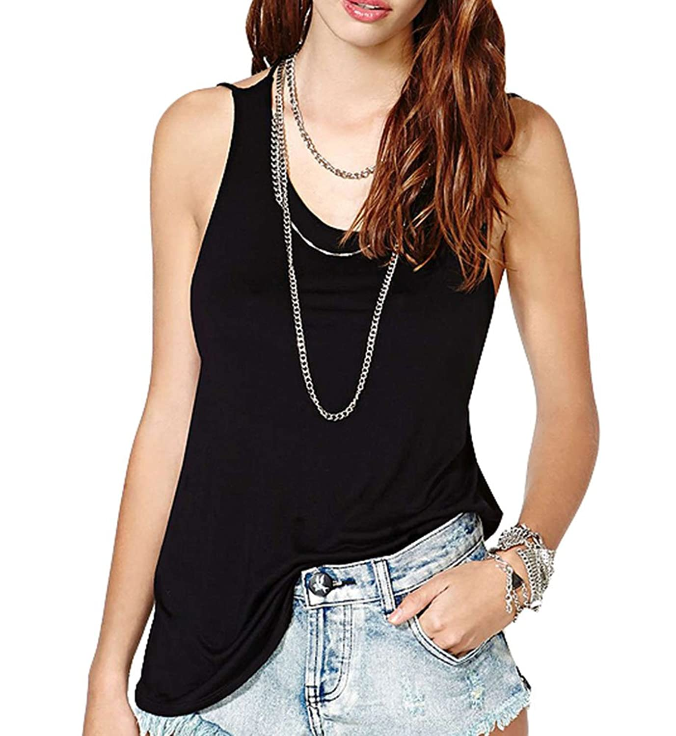 Popuus Women's Casual Pullover Loose Cotton T-Shirt Tank Top Camisole Black