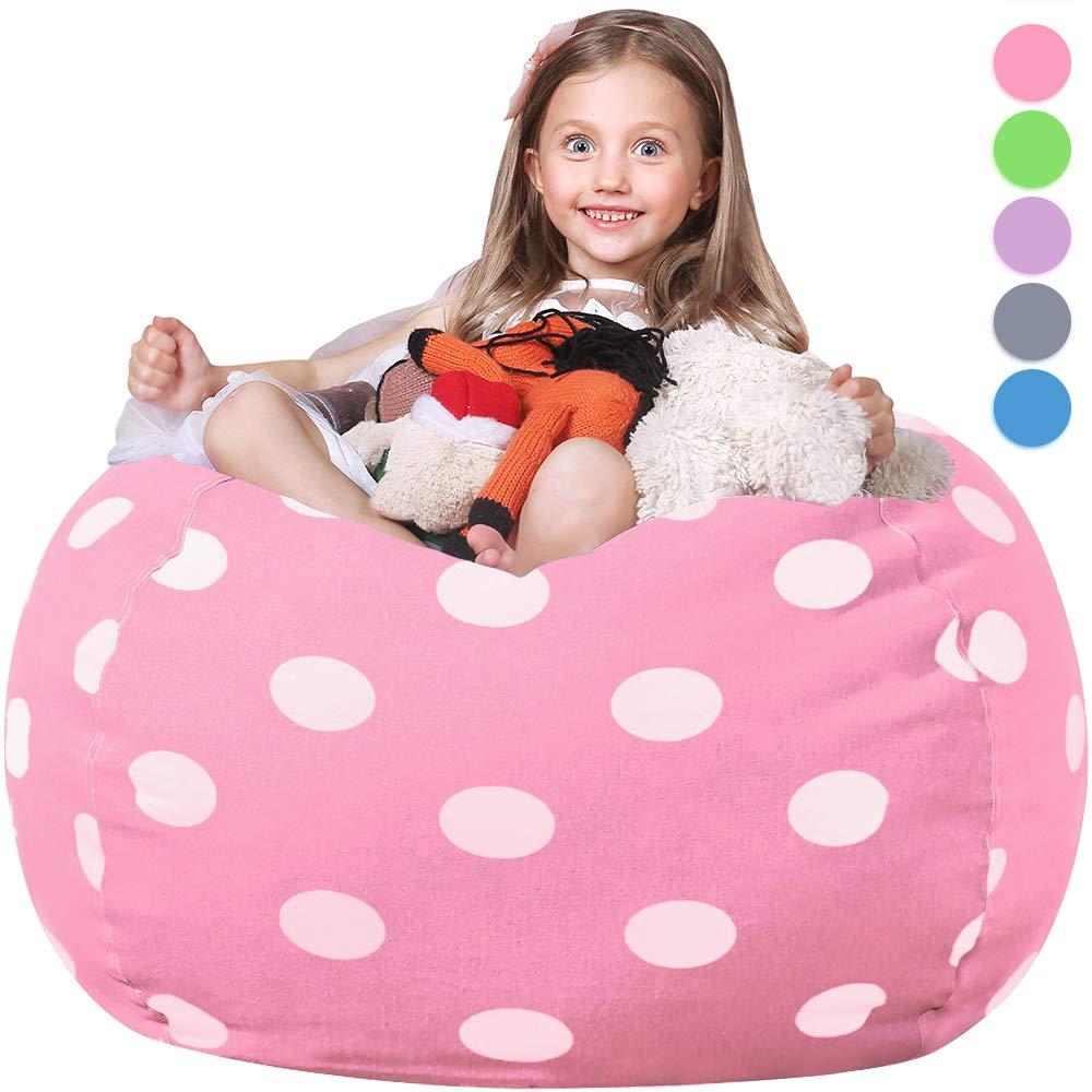 "WEKAPO Stuffed Animal Storage Bean Bag Chair Cover for Kids | Stuffable Zipper Beanbag for Organizing Children Plush Toys | 38"" Extra Large Premium Cotton Canvas"
