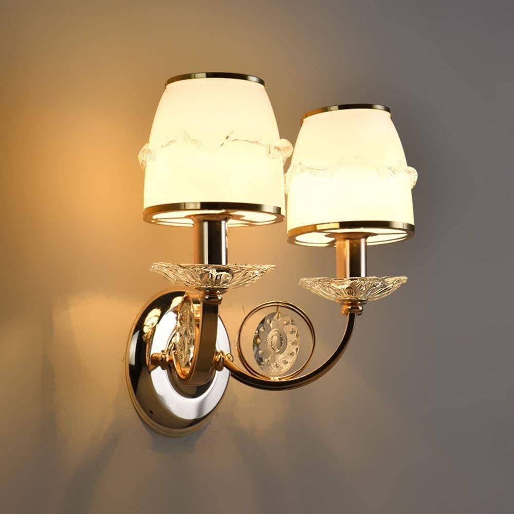 QAZ Wandleuchte licht Europäische Crystal Bett Legierung Projekt Hotel Flur Schlafzimmer Nachttischlampe Korridor Gang Beleuchtung (Farbe  warmes Licht, Größe  W35h25 cm)