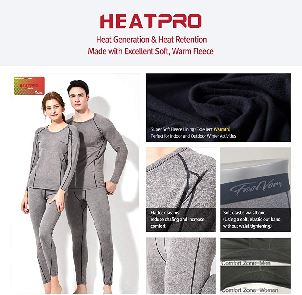 Feelvery Womens HEATPRO Active Performance Long Johns Thermal Underwear Set with Excellent Soft Warm Fleece Lined