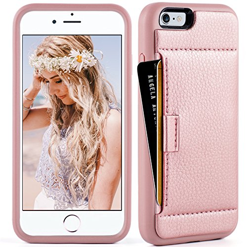 iphone 6 Wallet Case ,iphone 6 case with card holder , ZVE iphone 6s case Slim with wallet Credit Card Holder Shockproof Protective hybrid Leather Case For Apple iPhone 6 / 6s 4.7 inch (Rose Gold) Ribbon Cell Phone Case