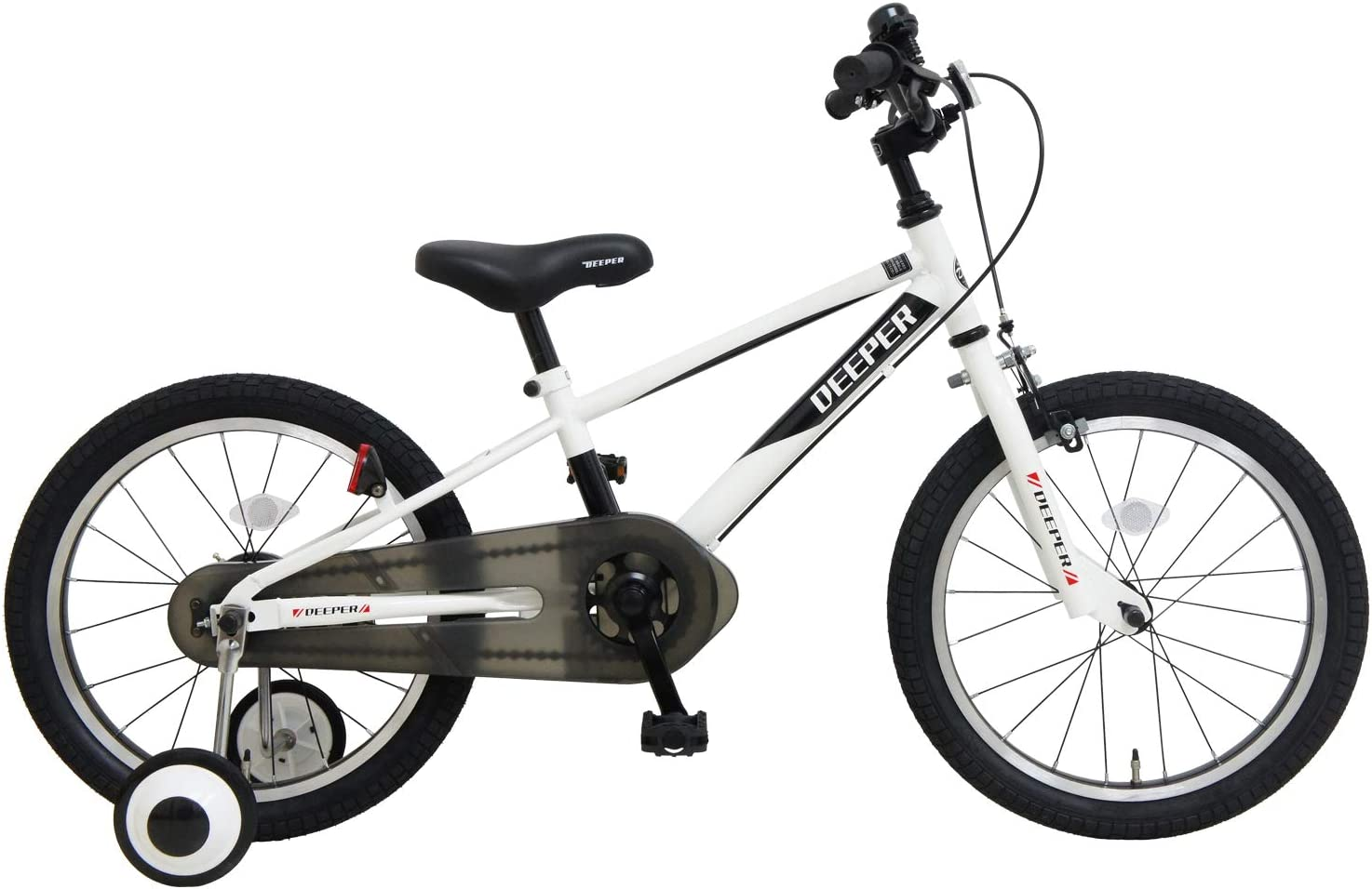 子供用自転車 18インチ DEEPER D-18TPB BMXタイプ 補助輪付き ホワイト×ブラック