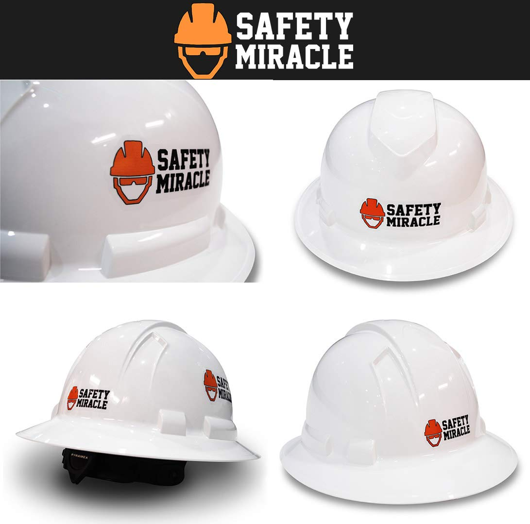 Custom Hard Hats - Personalized Logo - Pyramex Ridgeline Full Brim Cap 4 Point Ratchet Suspension by Safety Miracle (Image #5)