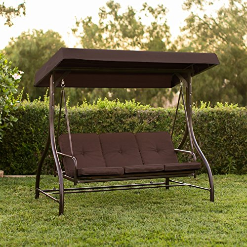 Best ChoiceProducts Converting Outdoor Swing Canopy Hammock Seats 3 Patio Deck Furniture (Swing Bed Outdoor Furniture)