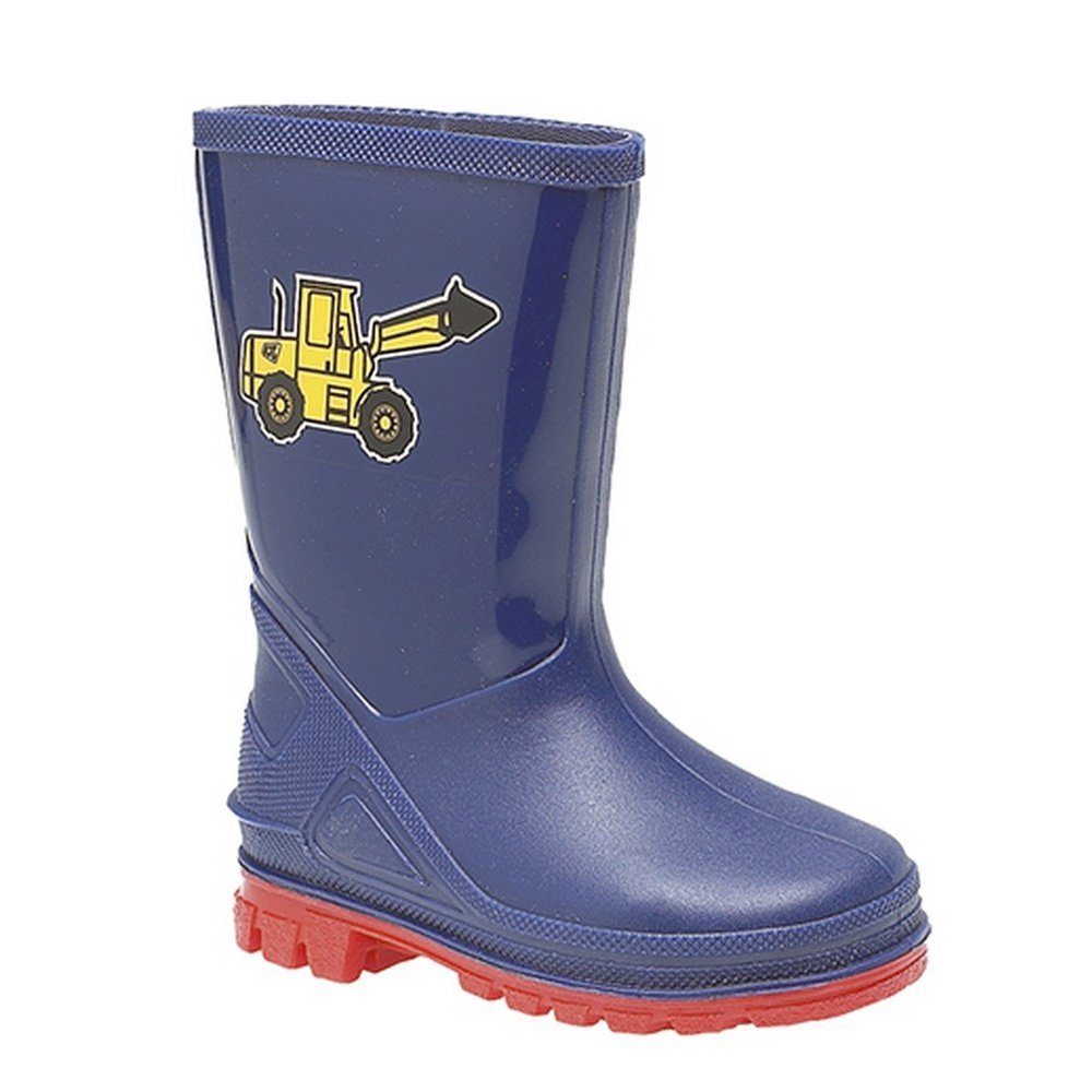 StormWells Boys Puddle Digger Rain Boots 5 US Navy Blue//Red