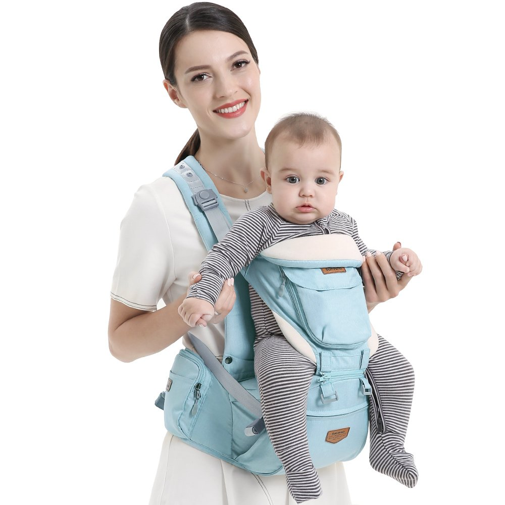 SUNVENO Ergonomic Baby Carrier 3 in1 Baby Hipseat for Outdoor Travel Waist Stool Green