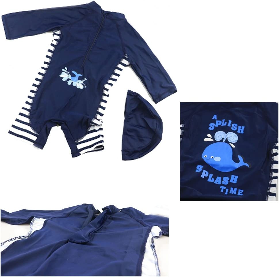 HUPLUE Baby Boys Long Sleeve Surfing Swimwear Beachwear Bathing Suit with Cap One-Pieces Swimsuit Rash Guard