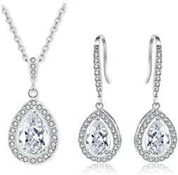 Hanie Women Jewelry Set Silver Pearl Earrings and Necklace with White Teardrop Cubic Zirconia Drop Dangle Earings and Pendant Elegant Bride Jewellery Match with Wedding Dress