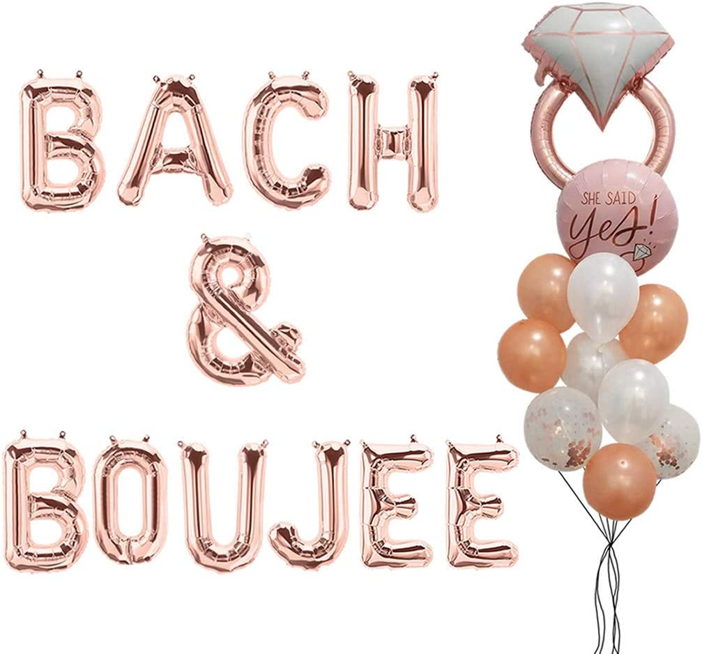 """16"""" Bach & Boujee Mylar Balloons Banner Bachelorette Party Decor Bach Party Decorations Bridal Shower Decor Backdrop Rose Gold Balloons"""