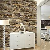 "HaokHome 91302 Modern Faux Brick Stone Textured Wallpaper Unprepasted Yellow Multi Brick Blocks Home Room Decoration 20.8"" x 33ft"