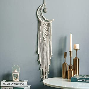 Jiur Moon Dream Catcher Handmade for Bedroom Decor Macrame Wall Hanging Bohemian Home Decoration Gifts for Teenage Girls