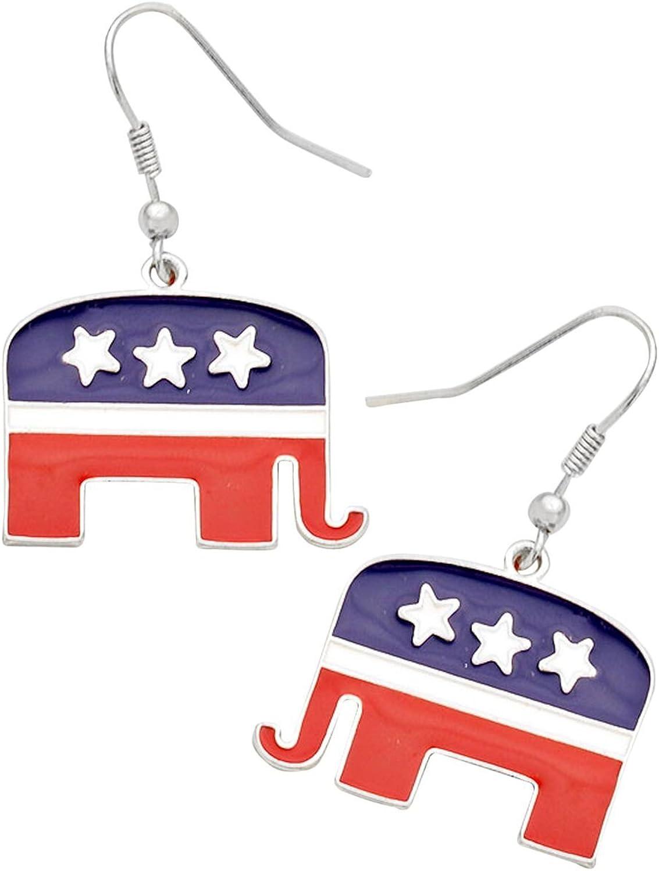 Rosemarie colecciones mujeres del elefante republicana pendientes colgantes Americano Bandera: Amazon.es: Joyería