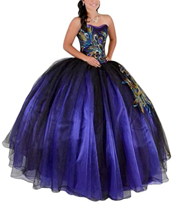 c192ebafd4b5 Women's Peacock Purple Ball Gown Long Tulle Quinceanera Dresses with  Appliues Prom Gowns 023 Purple and