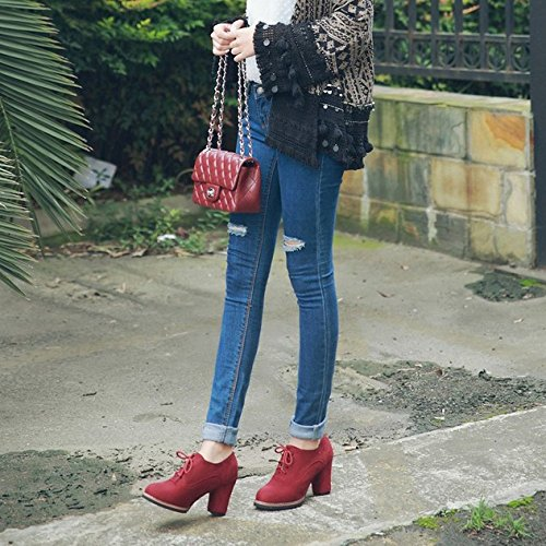 Mary Boots Low Block Boots Ladies Ankle Shoes Ladies Jane Lace Red Heel Up Womens Short Sq1gPP