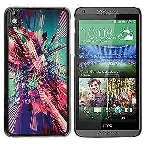 For HTC DESIRE 816 Case , City Vortex Teal Pink Art - Diseño Patrón Teléfono Caso Cubierta Case Bumper Duro Protección Case Cover Funda
