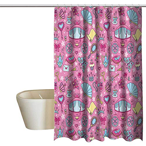 Teen Girls Decor Collection Punch-free shower curtain Pattern of Cute Carriage with Teapots Cups Necklace Perfume Shoes Envelope Image Waterproof/Water-Repellent & Antibacterial 108