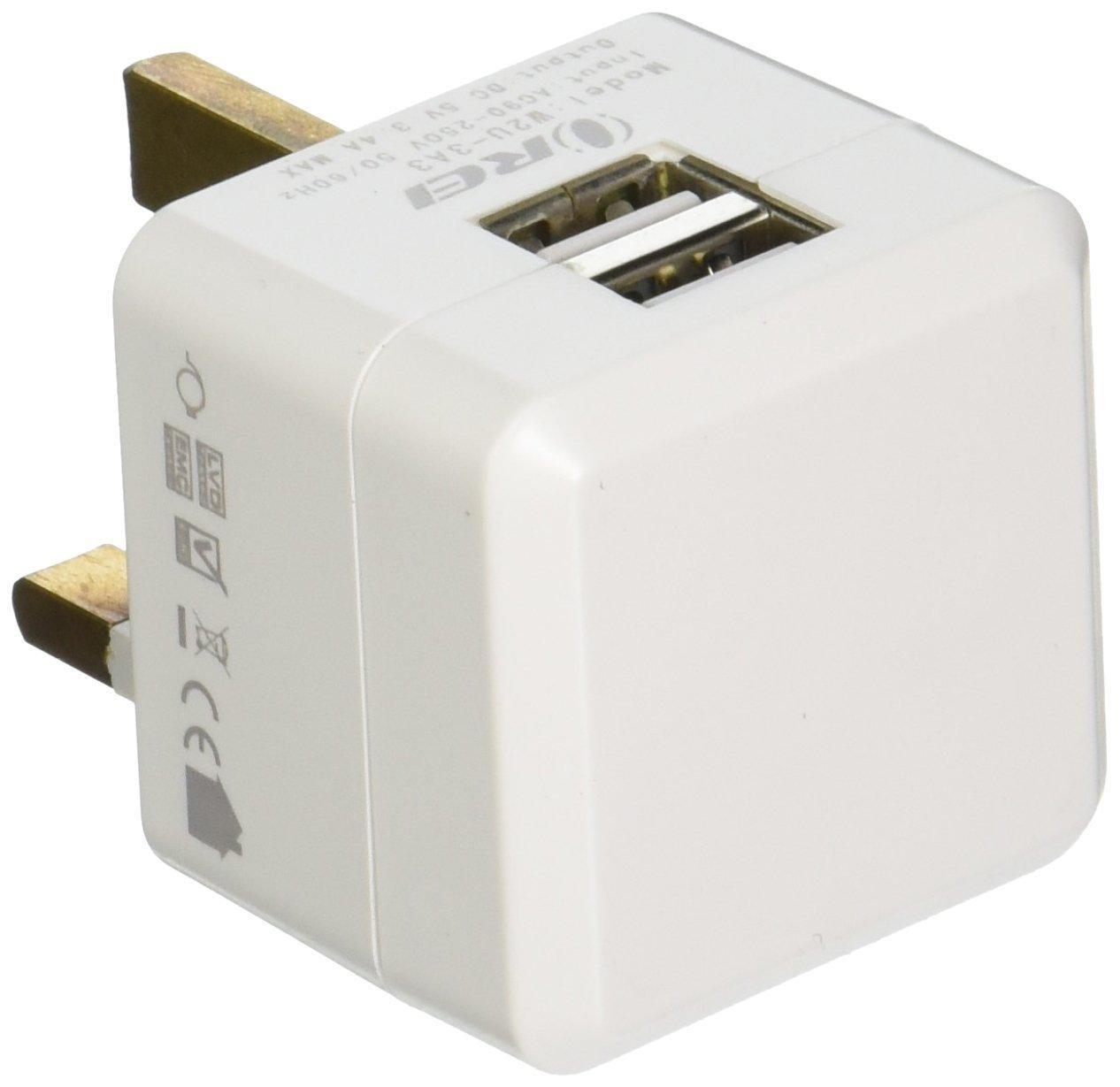 OREI 3.4A 2 USB Plug Adapter Type G for UK, Hong Kong, Singapore - iPhone/iPad, Galaxy & More
