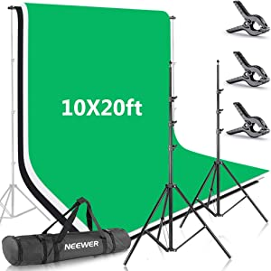 Neewer 8.5x10feet/2.6x3meters Background Stand Support System with 10x20ft/3x6M Backdrop (White,Black,Green) and Carry Bag for Photo Studio Portrait, Product Photography and Video Shooting