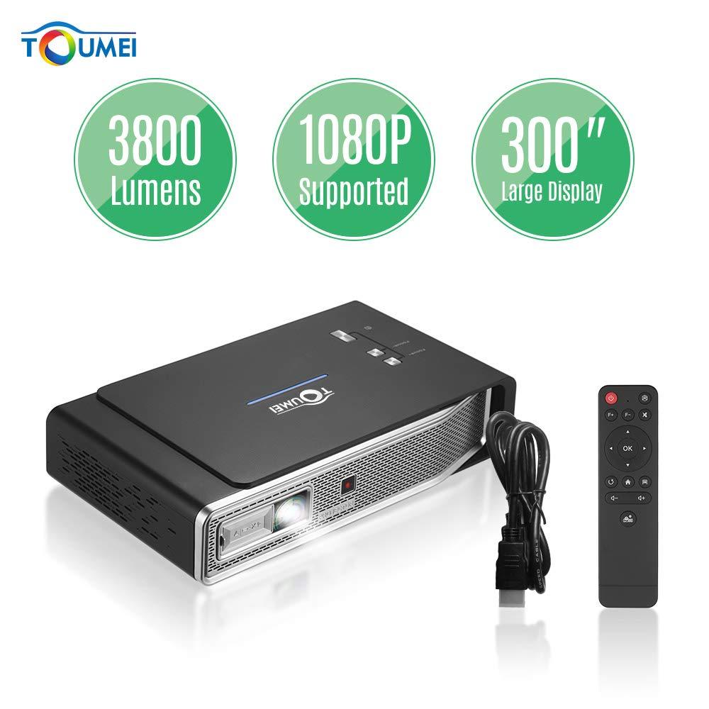 AibecyポータブルミニDLP 3DビデオプロジェクターHD 1080P対応デュアルバンドWiFi&BTホームシアタースマートプロジェクター3800ルーメン   B07SGDF5SR