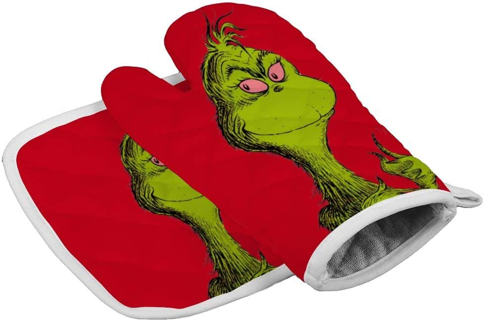 Tukiv The Grinches Oven Mitts and Pot Holders Sets Heat Resistant Kitchen Gloves Non Slip Hot Pads
