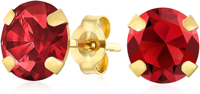 Pendientes redondos de oro amarillo o blanco de 14 quilates con piedras natales de 8 mm