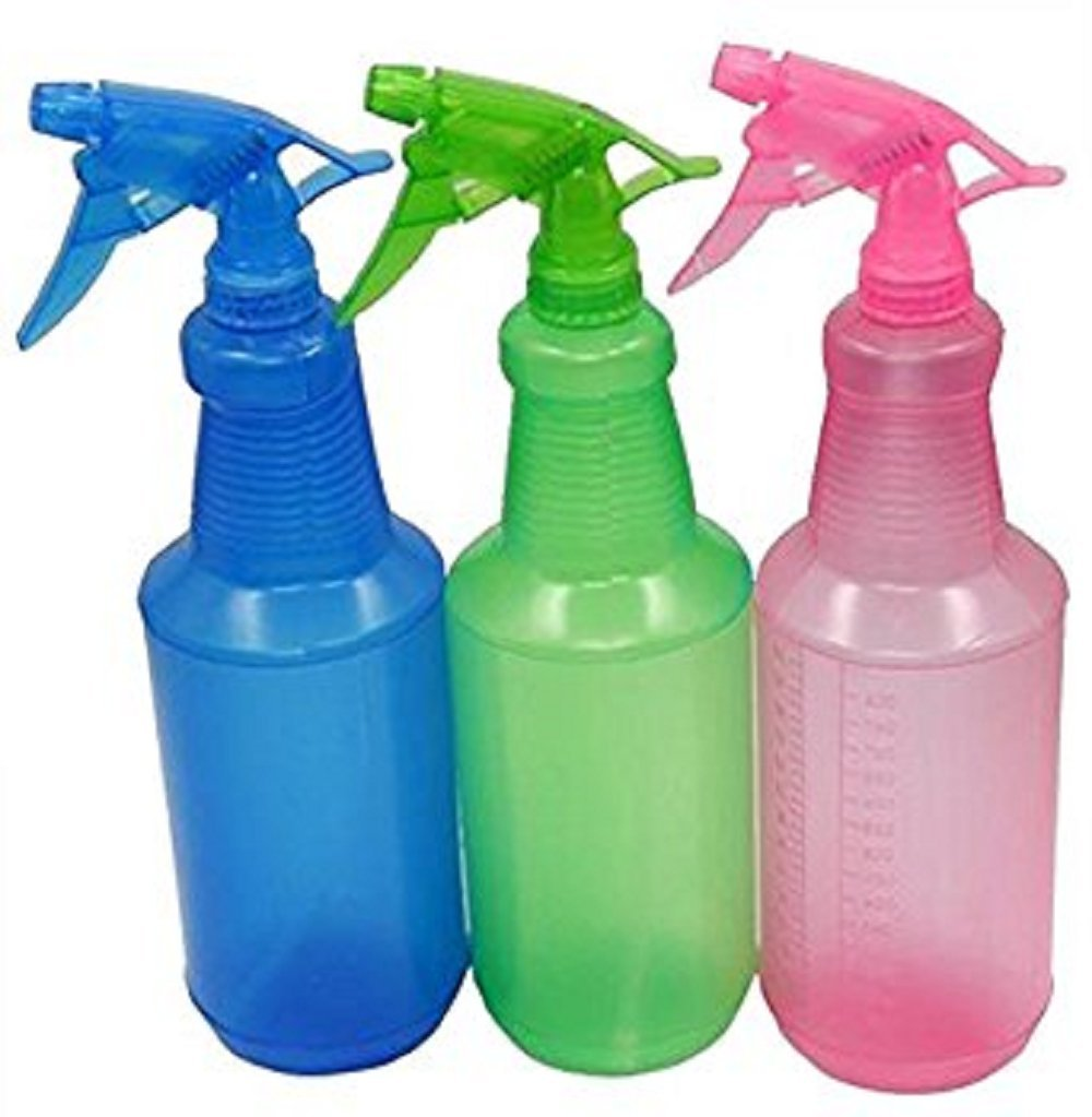 2 PACK - Extra Large 32 oz Leak Resistant - Durable - Commercial Size - Professional - Plastic Spray Bottle 900 ML BPA Free - ASSORTED COLORS