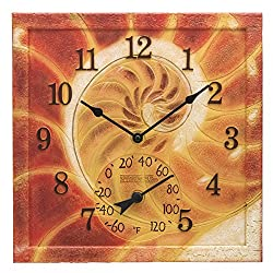 Springfield 12x12 Conch Shell Poly Resin Clock with Thermometer