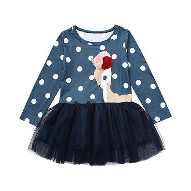 ee4543fe6 Child Clothes Set, Girls Cartoon Flower Deer Print Dress Toddler Casual Long  Sleeve Princess Tutu