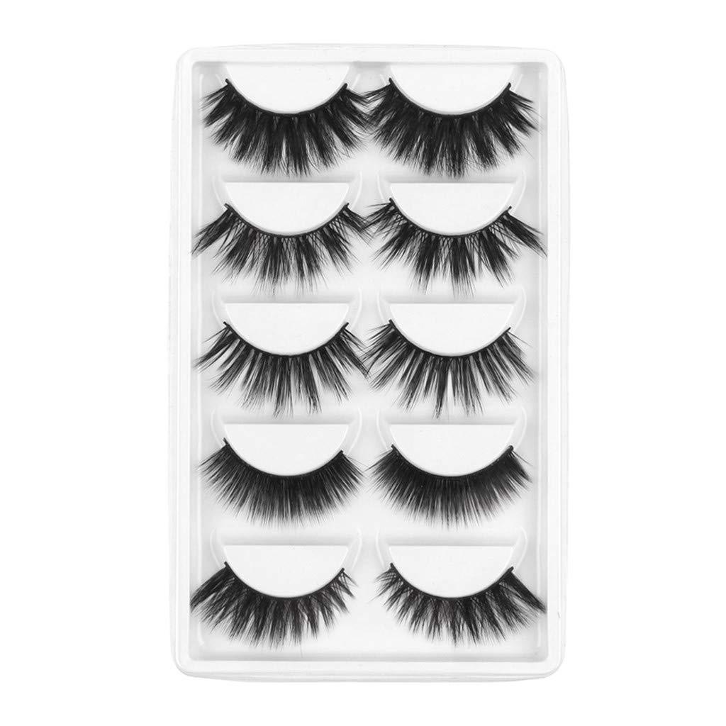 Caerling False Eyelashes 3D Faux Mink False Lashes Long Thick Eyelashes for Makeup Eyelashes Extension Dramatic Fake Eye Lashes with Eyelashes Clip (Free size, Black 1)