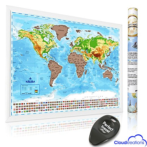 Scratch Off World Map Large Deluxe Gloss Edition,Track Where You Travel, Shows Every State and Flags, Vibrant Colors, Wall Poster, Scratcher Tool & Gift Tube INCLUDED!