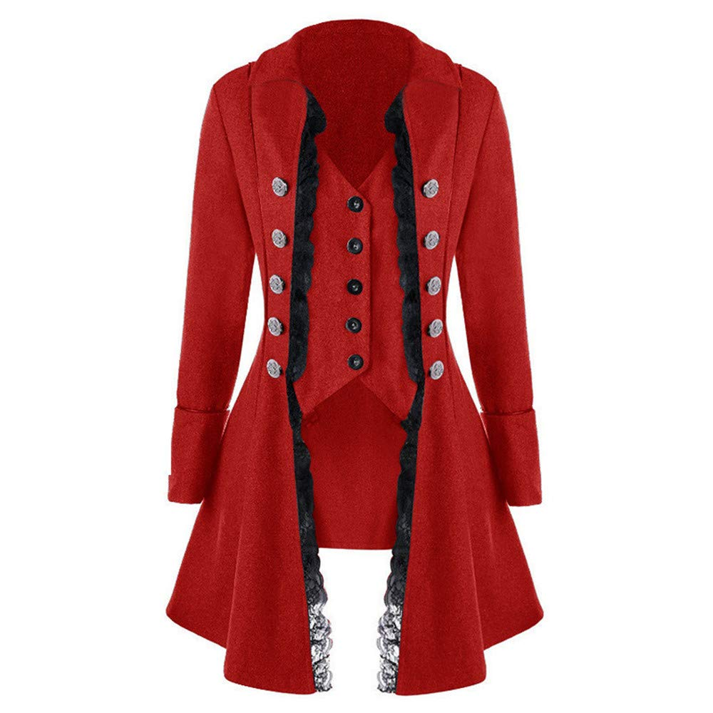 TANLANG Women Medieval Dresses Solid Blazer Long Sleeve Three-Breasted Jacket Irregular Top lace Macrame Ruffle Hem Coat Red