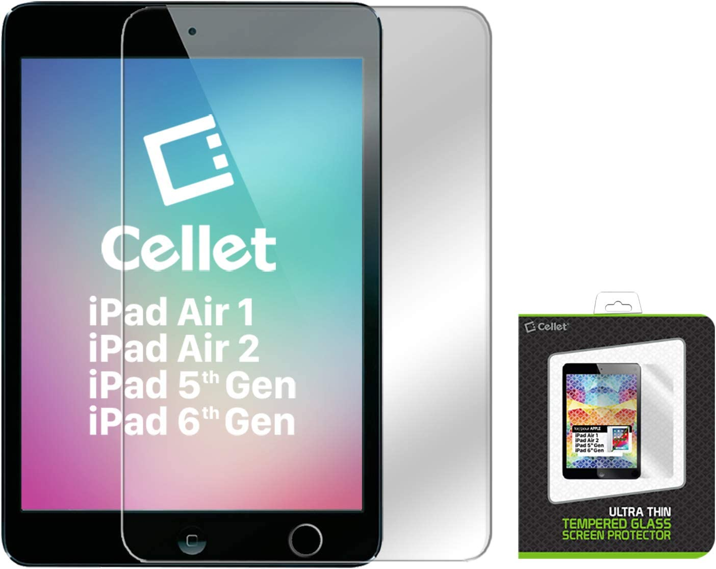 Cellet Ultra-Thin Premium 9H Tempered Glass Screen Protector for Apple iPad Air / iPad Air 2 (0.3mm) - Clear