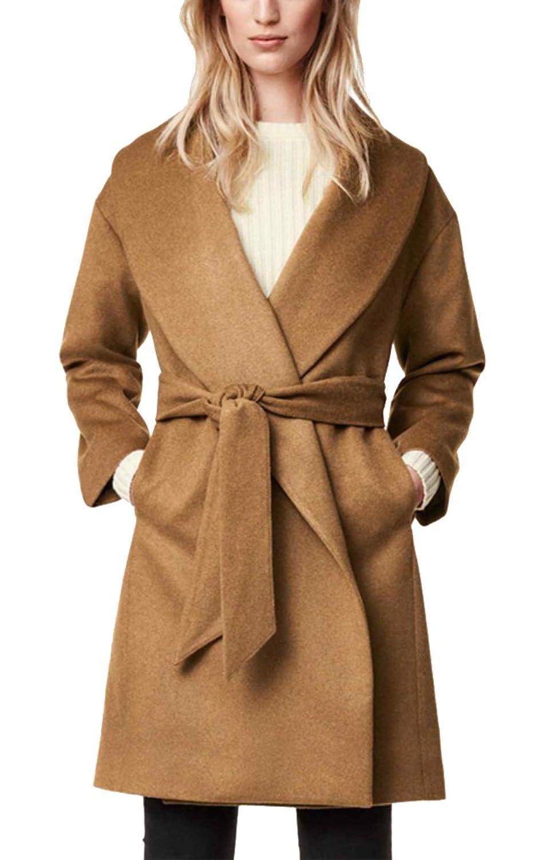 Summerwhisper Women's Tunic Belt Woolen Hoodie Coat Camel