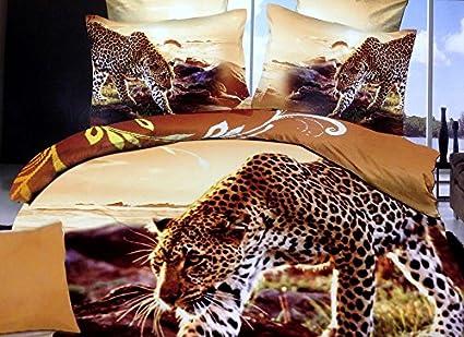 FOREVER 3D ANIMAL PRINT DOUBLE XL BEDSHEET,KING SIZE LEOPARD PRINT BEDSHEETS,  100%