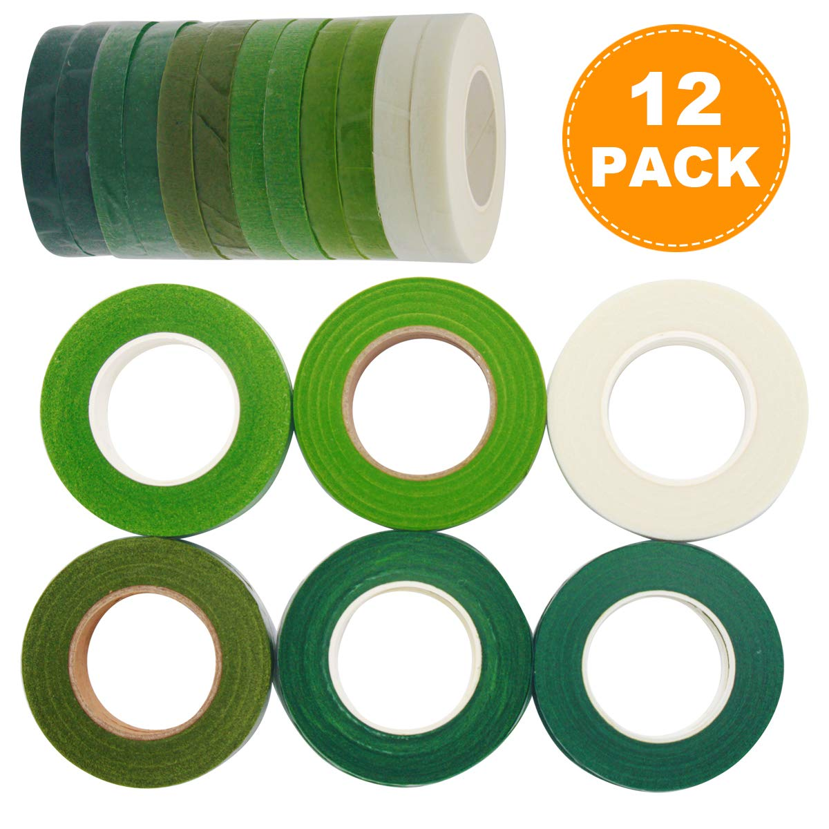 12 Rolls Floral Tape Stem Wrap Tape For Bouquet Stem Wrap 1/2'' x 30 Yards Florist Stem Wrap(2 Dark Green , 2 Middle Green, 4 Twig Green, 2 Olive Green and 2 White)