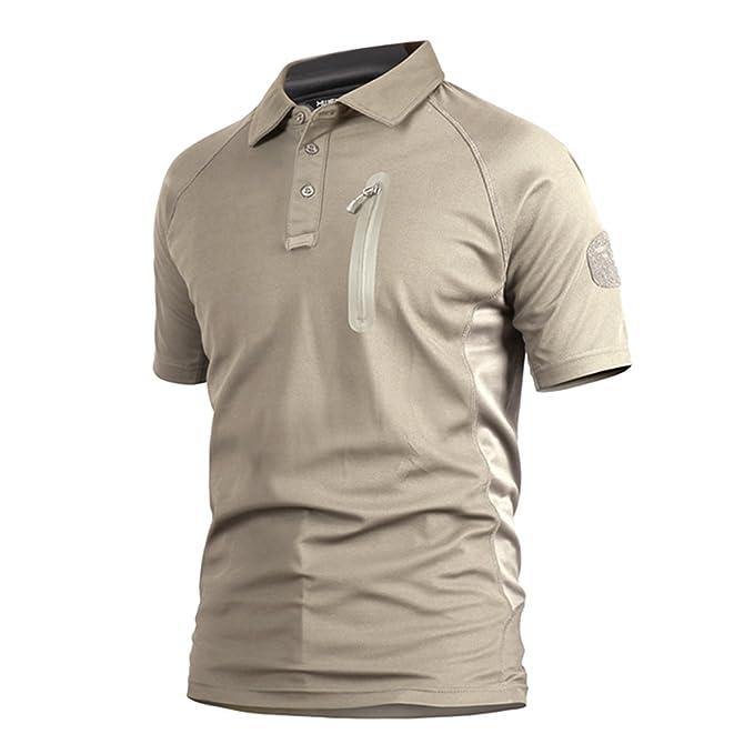 Polo Camuflaje Militar Uniforme táctico de Secado rápido Manga Corta Camiseta de los Hombres Airsoft Combat Caza de la Cremallera Camiseta Caqui x-Large: ...
