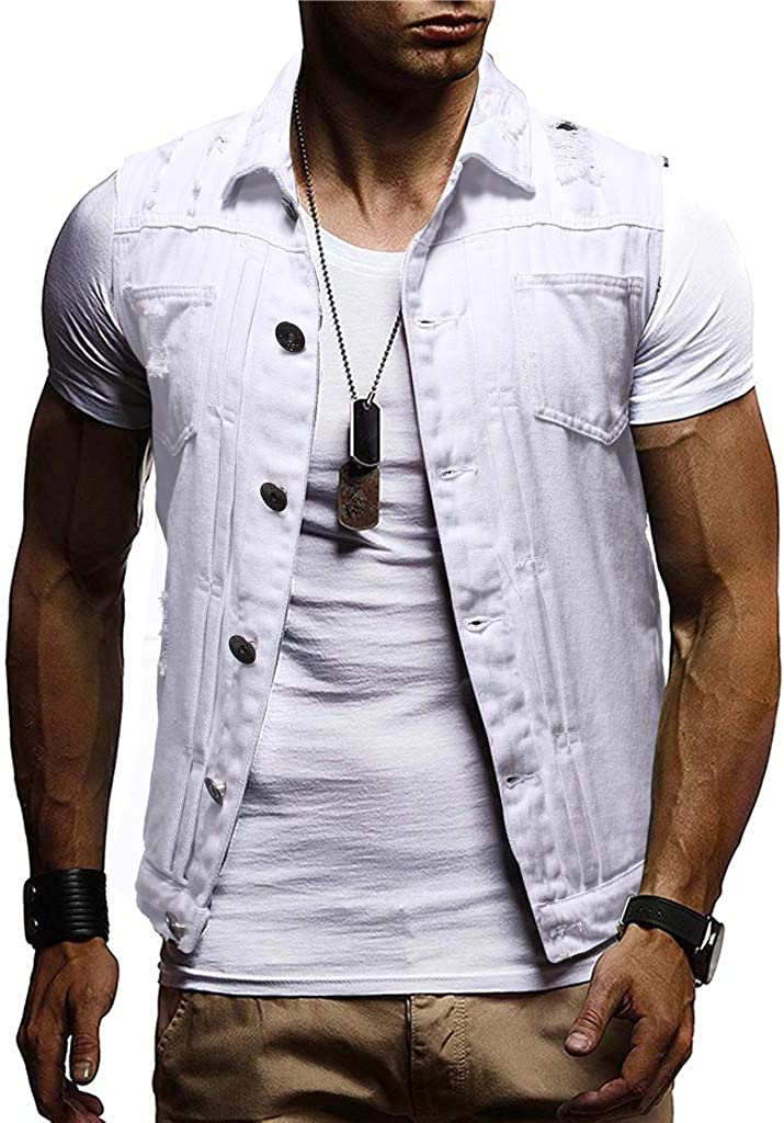 iOPQO Mens Sleeveless Lapel Distressed Denim Button Down Jeans Vest M-2XL