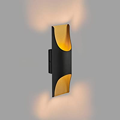 MOTINI LED Wall Sconce Up and Down Gold Inside Lighting Waterproof Wall Light 13W 3000K Outdoor Wall Lamp, 1100 Lumen IP65 Waterproof, Black