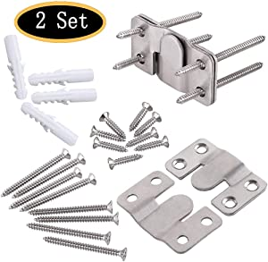 Furniture Flush Mount Bracket, Headboard Wall Mount Hardware, Large Picture and Mural Painting Hangers, Mirror Clips, Stainless Steel Mount Brackets Connectors 2 Sets (Large)
