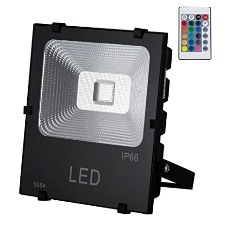 GM Lighting Outdoor RGB LED Remote Flood Lights 50W, 5000Lm, Multi-Colors Security