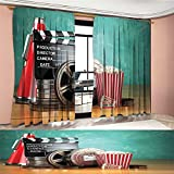 Littletonhome Movie Theater Blackout Window Curtain Production Theme 3D Film Reels Clapperboard Tickets Popcorn and Megaphone Customized Curtains Multicolor