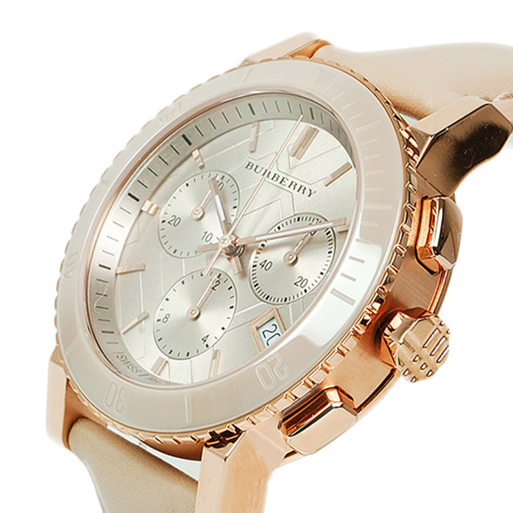 Burberry The City SWISS LUXURY CERAMIC Women 38mm Round Rose Gold Chronograph Watch Nude Leather Band Nude Sunray Date Dial BU9704 by BURBERRY (Image #4)