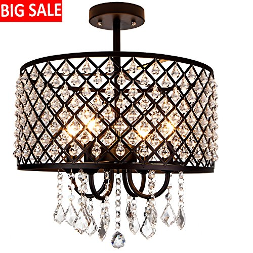 "Cheap Delica Home 16"" Diameter Industrial Black Metal Chandelier Ceiling Light, Drum Shade Pendant Hanging Lighting Fixture With Crystal Beads, 4-Bulb Lighting Fixture"
