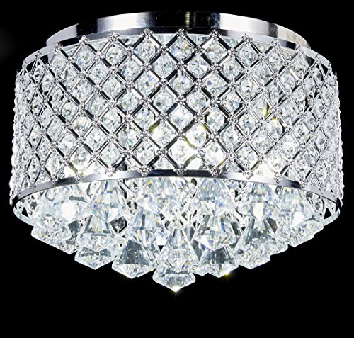 Metal Ceiling Lighting (Top Lighting 4-light Chrome Finish Round Metal Shade Crystal Chandelier Flush Mount Ceiling Fixture)